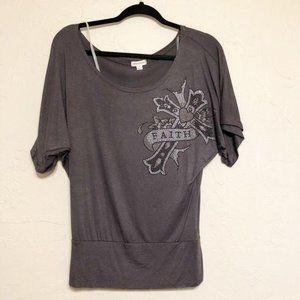 Zenana Outfitters Rhinestone Faith Cross Shirt S